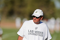 Sept. 16, 2009; Casa Grande, AZ, USA; Las Vegas Locomotives head coach Jim Fassel during training camp at the Casa Grande Training Facility & Performance Institute. Mandatory Credit: Mark J. Rebilas-