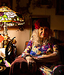 94 year-old writer Jeanette Zanghi in the living room of her home in Cassadaga, Florida, a spiritualist community established in 1894. <br /> Cassadaga is the psychic center of the South and is registered as a historic site.