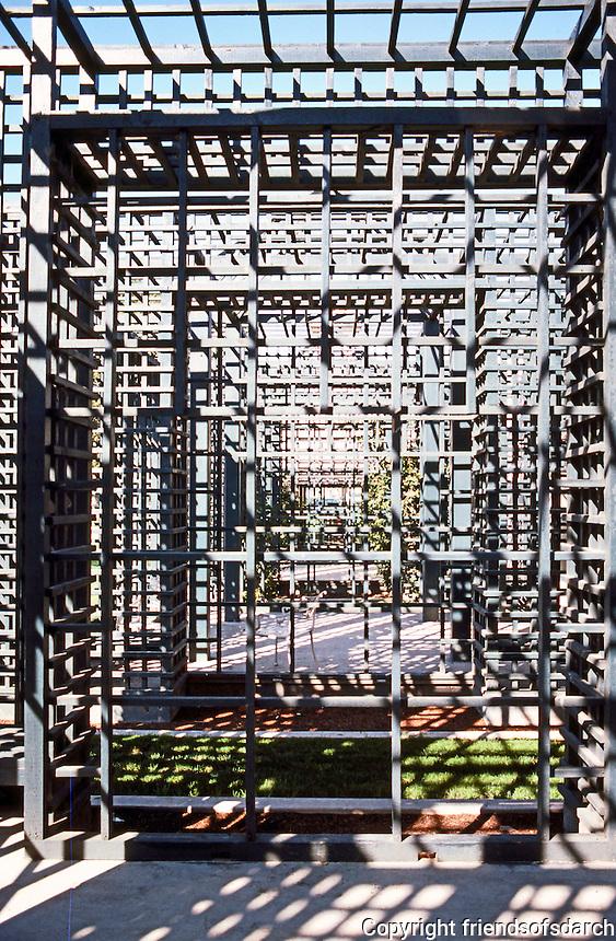 Michael Graves: San Juan Capistrano Library. West Side of building. Lattice-work Alcoves.  Photo '86.