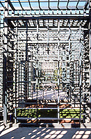 Michael Graves: San Juan Capistrano Library. West Side of building. Lattice-work Alcoves.  Photo '86.