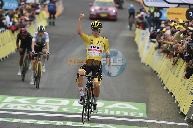 Yellow Jersey Tadej Pogacar (SLO) UAE Team Emirates wins Stage 18 of the 2021 Tour de France, ahead of Jonas Vingegaard (DEN) Jumbo-Visma and Richard Carapaz (ECU) Ineos Grenadiers, running 129.7km from Pau to Luz-Ardiden, France. 15th July 2021.  <br /> Picture: Colin Flockton | Cyclefile<br /> <br /> All photos usage must carry mandatory copyright credit (© Cyclefile | Colin Flockton)