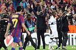 Football - FC Barcelona v Inter Milan UEFA Champions League Semi Final Second Leg - Camp Nou Stadium, Barcelona, Spain - 28/4/10 Inter Milan's coach Jose Mourinho celebrating after winning the match and Pedro Rodriguez of Barcelona