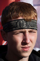 "Moscow, Russia, 22/10/2011..A demonstrator wearing an Orthodox headband at a Russian nationalist protest """"Stop Feeding The Caucasus"" against the alleged over-subsidisation of the North Caucasus region, including Chechnya, by the central Russian government. The campaign has been organised by the Russian Public Movement and the Russian Civil Union, who have joined under the common banner of The Russian Platform."