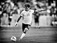 Sandy, Utah - Tuesday, June 18, 2013: USMNT vs Honduras at Rio Tinto Stadium during a WC qualifying match. Graham Zusi strikes the ball.