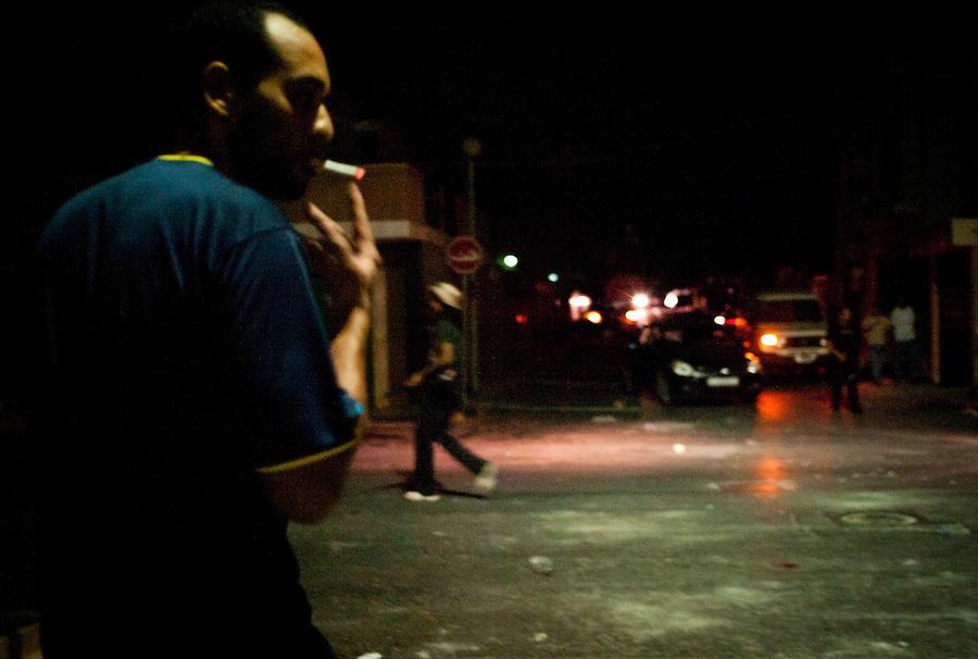 Rebel fighters man checkpoint in Tripoli, Libya