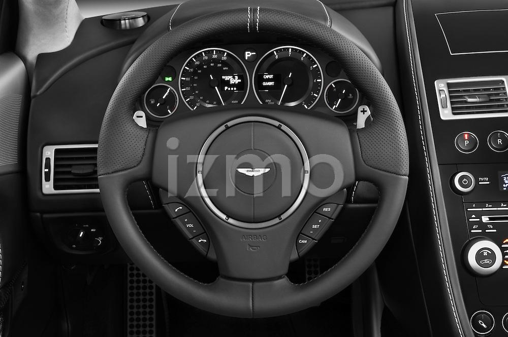 Steering wheel view of a 2007 - 2012 Aston Martin DBS Volante Convertible.