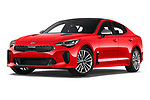 Stock pictures of low aggressive front three quarter view of a 2018 KIA Stinger GT-Line 5 Door Hatchback