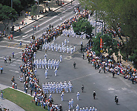 aerial photograph of the Independence day parade, la Reforma, Mexico City