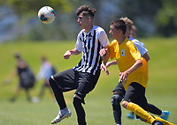 Action from the 2019 National Age Group Tournament Under-16 Boys football match between Capital and Northern at Memorial Park in Petone, Wellington, New Zealand on Thursday, 12 December 2019. Photo: Dave Lintott / lintottphoto.co.nz