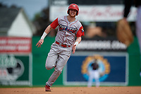 Williamsport Crosscutters Jake Holmes (22) running the bases during a NY-Penn League game against the Batavia Muckdogs on August 27, 2019 at Dwyer Stadium in Batavia, New York.  Williamsport defeated Batavia 11-4.  (Mike Janes/Four Seam Images)