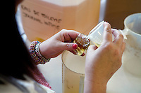 A worker fills a bottle with 'Journal Intime' eau de toilette at the Galimard perfume factory and visitor centre, Grasse, France, 3 May 2013