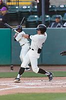 Visalia Rawhide center fielder Jake McCarthy (31) during a California League game against the Rancho Cucamonga Quakes on April 9, 2019 in Visalia, California. Visalia defeated Rancho Cucamonga 8-5. (Zachary Lucy/Four Seam Images)