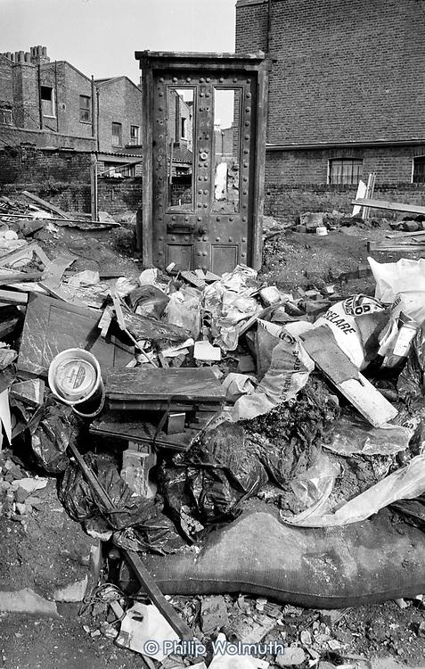 Demolished housing, North Paddington, London, 1975
