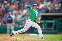 Hartford Yard Goats relief pitcher Marc Magliaro (14) delivers a pitch during a game against the Trenton Thunder on August 26, 2018 at Dunkin' Donuts Park in Hartford, Connecticut.  Trenton defeated Hartford 8-3.  (Mike Janes/Four Seam Images)