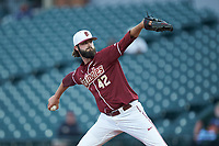 Florida State Seminoles relief pitcher Jim Voyles in action against the Notre Dame Fighting Irish in Game Four of the 2017 ACC Baseball Championship at Louisville Slugger Field on May 24, 2017 in Louisville, Kentucky. The Seminoles walked-off the Fighting Irish 5-3 in 12 innings. (Brian Westerholt/Four Seam Images)
