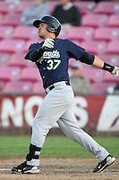 Eugene Emeralds infielder Zach Kometani #37 bats against the Salem-Keizer Valcanoes at Volcanoes Stadium on August 9, 2011 in Salem-Keizer,Oregon. Eugene defeated Salem-Keizer 13-7.(Larry Goren/Four Seam Images)