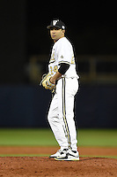 Vanderbilt Commodores pitcher Jordan Sheffield (24) gets ready to deliver a pitch during a game against the Indiana State Sycamores on February 20, 2015 at Charlotte Sports Park in Port Charlotte, Florida.  Vanderbilt defeated Indiana State 3-2.  (Mike Janes/Four Seam Images)