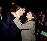 "Montreal (Qc) CANADA - File Photo - Jan 1996 -<br /> <br /> Lucien Bouchard,  Leader Parti Quebecois (from Jan 29, 1996 to March 2, 2001). seen in a file photo with Francine Simard<br /> <br /> After the Yes side lost the 1995 referendum, Parizeau resigned as Quebec premier. Bouchard resigned his seat in Parliament in 1996, and became the leader of the Parti QuÈbÈcois and premier of Quebec.<br /> <br /> On the matter of sovereignty, while in office, he stated that no new referendum would be held, at least for the time being. A main concern of the Bouchard government, considered part of the necessary conditions gagnantes (""winning conditions"" for the feasibility of a new referendum on sovereignty), was economic recovery through the achievement of ""zero deficit"". Long-term Keynesian policies resulting from the ""Quebec model"", developed by both PQ governments in the past and the previous Liberal government had left a substantial deficit in the provincial budget.<br /> <br /> Bouchard retired from politics in 2001, and was replaced as Quebec premier by Bernard Landry."