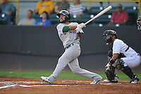Beloit Snappers Jesus Lopez (7) swings during the Midwest League game against the Clinton LumberKings at Ashford University Field on June 11, 2016 in Clinton, Iowa.  The LumberKings won 7-6.  (Dennis Hubbard/Four Seam Images)