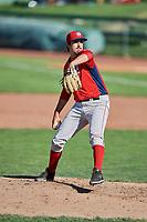 Jason Alexander (14) of the Orem Owlz delivers a pitch to the plate against the Ogden Raptors at Lindquist Field on September 10, 2017 in Ogden, Utah. Ogden defeated Orem 9-4. (Stephen Smith/Four Seam Images)