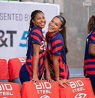 AUSTIN, TX - JUNE 16: Margaret Purce #20 and Sophia Smith #2 of the USWNT pose for a photo before a game between Nigeria and USWNT at Q2 Stadium on June 16, 2021 in Austin, Texas.
