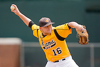 Relief pitcher Jonathan Watson #16 of the VCU Rams in action against the St. John's Red Storm at the Charlottesville Regional of the 2010 College World Series at Davenport Field on June 5, 2010, in Charlottesville, Virginia.  The Red Storm defeated the Rams 8-6.  Photo by Brian Westerholt / Four Seam Images