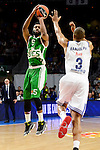 Real Madrid's player Anthony Randolph and Unics Kazan's player Keith Langford during match of Turkish Airlines Euroleague at Barclaycard Center in Madrid. November 24, Spain. 2016. (ALTERPHOTOS/BorjaB.Hojas)