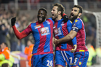 Yohan Cabaye of Crystal Palace celebrates his goal with Mile Jedinak (right) of Crystal Palace & Bakary Sako (left) of Crystal Palace during the FA Cup quarter-final match between Reading and Crystal Palace at the Madejski Stadium, Reading, England on 11 March 2016. Photo by Andy Rowland/PRiME Media Images.