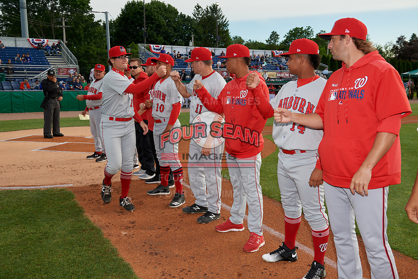Auburn Doubledays Bobby Milacki (27) during introductions before a NY-Penn League game against the Batavia Muckdogs on June 14, 2019 at Dwyer Stadium in Batavia, New York.  Batavia defeated 2-0.  (Mike Janes/Four Seam Images)