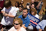 May 4, 2008. Marion, NC.. Just 2 days before the North Carolina primary, former president Bill Clinton campaigned across rural western North Carolina, stumping for his wife. Senator Hillary Clinton, in her drive for rural and working class votes.. Jason Cochran, center,  an amateur NASCAR driver, came out to show his support with his mother Mona, front, and friend Delores Arnold,  right.