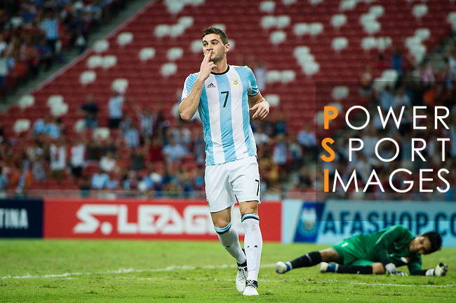 Lucas Alario of Argentina celebrating his score during the International Test match between Argentina and Singapore at National Stadium on June 13, 2017 in Singapore. Photo by Marcio Rodrigo Machado / Power Sport Images