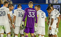 CARSON, CA - OCTOBER 14: Jonathan Klinsmann #33 GK of Los Angeles Galaxy with his new team mates during a game between San Jose Earthquakes and Los Angeles Galaxy at Dignity Heath Sports Park on October 14, 2020 in Carson, California.