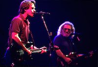 """Bob Weir, left,  and Jerry Garcia of The Grateful Dead perform during a concert in Oakland.   The remaining members of the band will reunite for the final time for the """"Fare Thee Well"""" concerts  over July 4th weekend in 2015."""