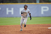 Luis Gimenez (14) of the Campbell Camels celebrates as he rounds the bases following a home run by teammate Spencer Packard (not pictured) during the game against the High Point Panthers at Williard Stadium on March 16, 2019 in  Winston-Salem, North Carolina. The Camels defeated the Panthers 13-8. (Brian Westerholt/Four Seam Images)