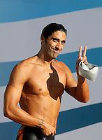 Trofeo Settecolli di nuoto al Foro Italico, Roma, 15 giugno 2013.<br /> Filippo Magnini, of Italy, reacts after competing in the men's 100 meters Freestyle at the Sevenhills swimming trophy in Rome, 15 June 2013.<br /> UPDATE IMAGES PRESS/Isabella Bonotto