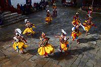 Demon dancers at the Prakhar Lhakhang festival, Bumthang, Bhutan
