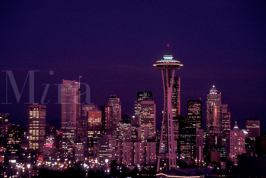 AJ3674, Seattle, skyline, space needle, Washington, Downtown skyline of Seattle at night in the state of Washington.
