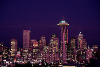 AJ3674, Seattle, skyline, space needle, Washington, Downtown skyline of Seattle at night in the state of Washington.