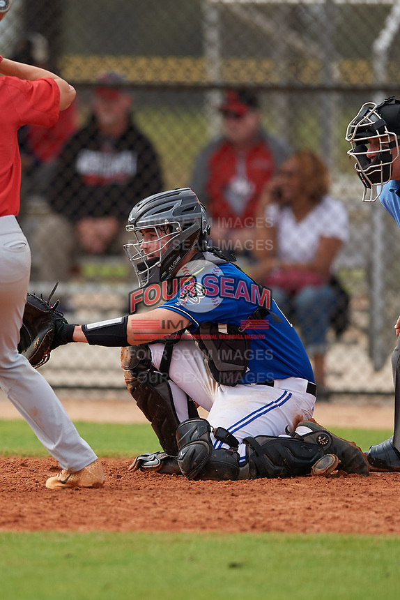 St. Petersburg Titans catcher Jamie Minchin (2) during a game against the Northwest Florida Raiders on January 31, 2020 at Lake Myrtle Sports Park in Auburndale, Florida.  Northwest Florida defeated St. Petersburg 5-1.  (Mike Janes/Four Seam Images)