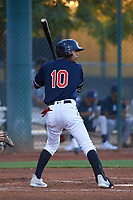 AZL Indians Red Yordys Valdes (10) at bat during an Arizona League game against the AZL Padres 1 on June 23, 2019 at the Cleveland Indians Training Complex in Goodyear, Arizona. AZL Indians Red defeated the AZL Padres 1 3-2. (Zachary Lucy/Four Seam Images)