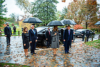 President Donald J. Trump (right), First Lady Melania Trump (second to right), Vice President Mike Pence (second to right) and Second Lady Karen Pence (right) arrive at Arlington National Cemetery, Arlington, Virginia, November 11, 2020. President Trump and Vice President Pence came to ANC to participate in a Presidential Armed Forces Full Honor Wreath-Laying Ceremony at the Tomb of the Unknown Soldier as part of the nation's 67th Veterans Day Observance. (U.S. Army photo by Elizabeth Fraser / Arlington National Cemetery / released)