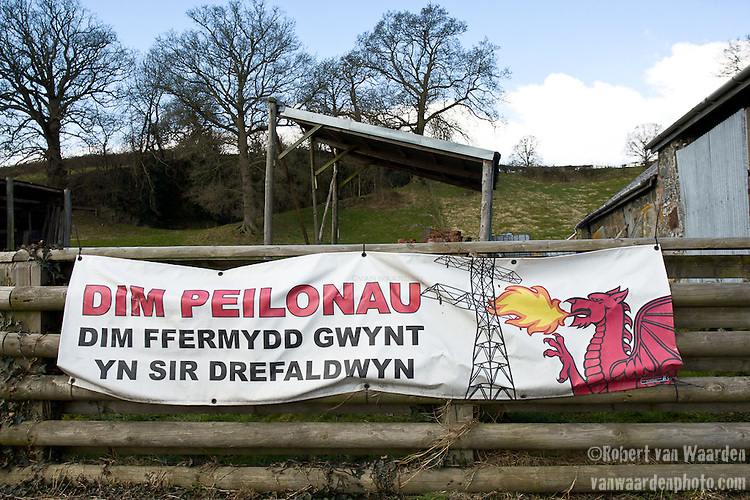 A typical anti-turbine farm in mid Wales. Translation: No Pylons.No Wind farms in Montgomeryshire