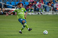 SAN JOSE, CA - OCTOBER 18: Jordy Delem #8 of the Seattle Sounders passes the ball during a game between Seattle Sounders FC and San Jose Earthquakes at Earthquakes Stadium on October 18, 2020 in San Jose, California.