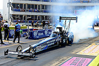 Sept. 22, 2012; Ennis, TX, USA: NHRA top fuel dragster driver J.R. Todd during qualifying for the Fall Nationals at the Texas Motorplex. Mandatory Credit: Mark J. Rebilas-US PRESSWIRE