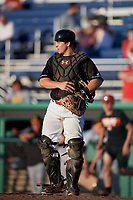 Batavia Muckdogs catcher J.D. Osborne (23) during a game against the West Virginia Black Bears on June 20, 2018 at Dwyer Stadium in Batavia, New York.  West Virginia defeated Batavia 4-3.  (Mike Janes/Four Seam Images)