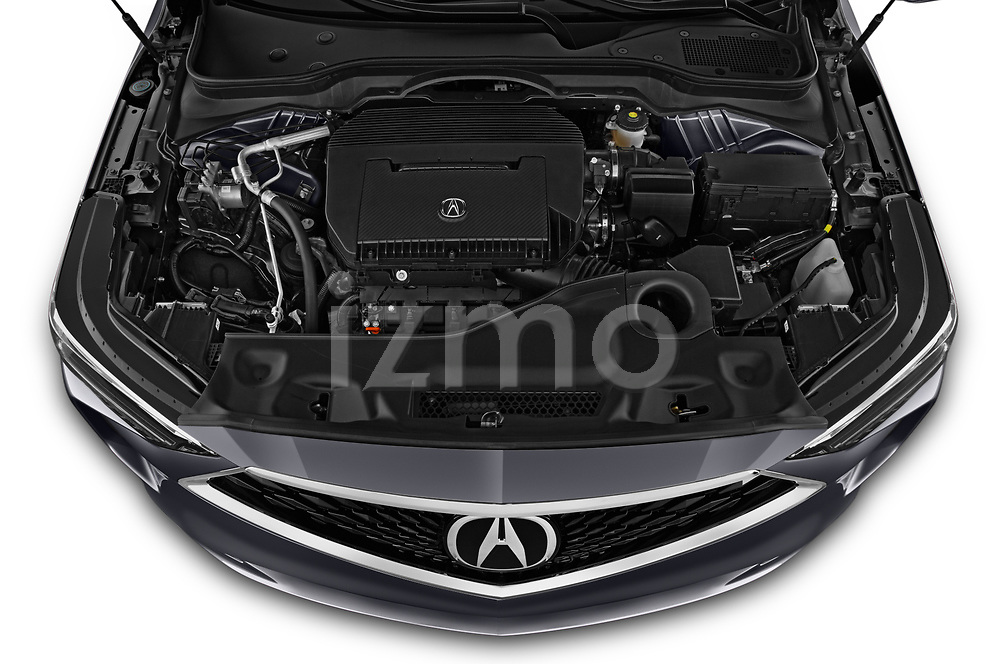 Car Stock 2022 Acura MDX - 5 Door SUV Engine  high angle detail view