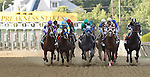 May 19, 2012 Start of the 137th Preakness Stakes at Pimlico Race Course in Baltimore, Maryland: from left, winner I'll Have Another; runner-up Bodemeister, 3rd-place finisher Creative Cause. (Joan Fairman Kanes/EclipseSportswire)