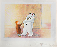 BNPS.co.uk (01202 558833)<br /> Pic: Bonhams/BNPS<br /> <br /> PICTURED: The Snowman: an original animation cel of the Snowman and James in the house.<br /> <br /> Original animation cells from the Christmas film 'The Snowman' have sold at auction for £14,000.<br />  <br /> The 16 drawings were sketched on celluloid plastic and then filmed in sequence to give the impression they were moving.<br /> <br /> They were sold individually, with the most valuable being a picture of James and the Snowman embraced in a hug.