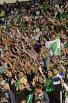 Sevilla, España, 15 de octubre de 2014: Seguidores del Betis pidiendo la dimision de la direccion betica durante el partido entre Real Betis y Lugo correspondiente a la jornada 5 de la Copa del Rey 2014-2015 celebrado en el estadio Benito Villamarain de Sevilla.