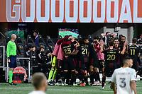 ATLANTA, GA - APRIL 24: Atlanta United celebrate #8 Ezequiel Barco's 23rd minute goal during a game between Chicago Fire FC and Atlanta United FC at Mercedes-Benz Stadium on April 24, 2021 in Atlanta, Georgia.